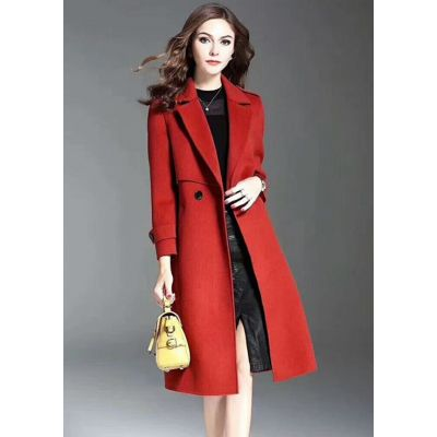 Winter Long Burberry Ladies Red Slanted Slip Pocket Slim-fit Wool Outerwear Double Buttons Tailored Coat