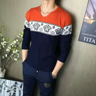 Versace Fashion Tri-color High End Mercerized Cotton Guy V-neck Clone Sweaters With Medusa Pattern