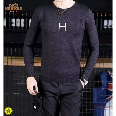 Hermes Silver H Logo Crew-neck Long-Sleeve Mens Black High End Casual Wool Knit Sweater Replica