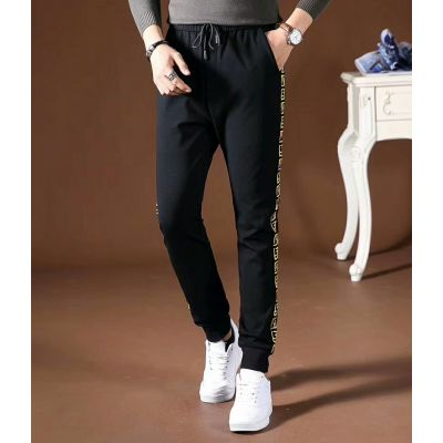Low Price Fendi Yellow Double F Detail Mens Black Cotton Drawcord Waist Bugs Eye Sweatpants