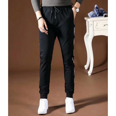 Good Price Fendi Karlito Details Male Black Cotton Tie-waist Relaxed-fit Jogging-style Pants With Pocket