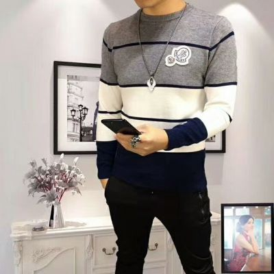 Hot Selling Versace Tri-color Pinstripe Male Crewneck Long-sleeve Colorblock Wool Leisure Knit Sweaters
