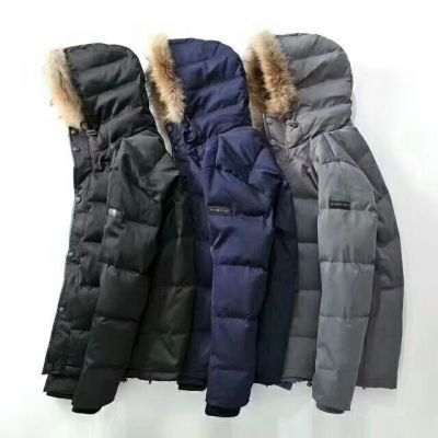Hot Selling Burberry Fur Trimming Check Detail Mens Winter Thicken Water-Proof Down-filled Parka Black/Blue/Gray