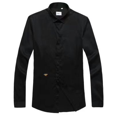 Elegant Style Dior Concealed Single-breasted Mens Black High End Poplin Yellow Bee Embroidery Dress Long-sleeve T-shirts