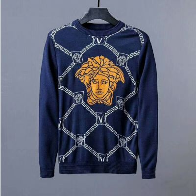 Versace Trendy Greca Border Argyle Motif Spandex & Wool Guy Medusa Crewneck Knitted Sweaters Black/Blue