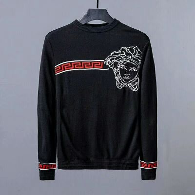 Imitation Top Style Versace Medusa Jacquard Greca Border Detail Mens Long-sleeve Crewneck Sweaters Black/Blue