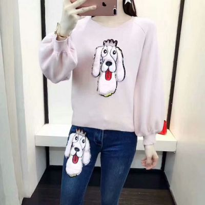Spring Dior Large Dog Pattern Pink Cotton Long-Sleeve Crewneck Sweaters Blue Slim-fit Jeans Womens Suits Replica