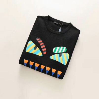 Fendi Male Black High End Wool Long-sleeve Casual Knit Sweater With Multicolor Bugs Eyes Print