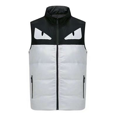 Most Fashion Fendi Black-White Patchwork Mens Winter Vest With Zipper & Side Pocket Replica