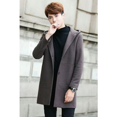 Casual Style Burberry Mens Mid-length Grey Wool Oversized Side-slash Pockets Winter Outerwear Sale Online