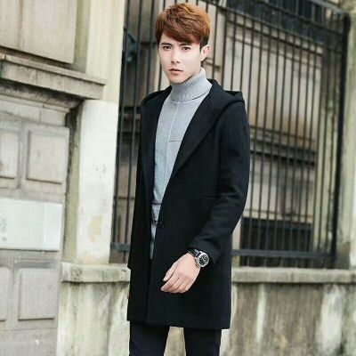 Imitation Spring/Fall Burberry Fashionable Double Button Snap Male Mid-length Black Wool Coat With Hood