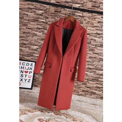 Hot Selling Womens Winter Burberry Long Wool Flap Pocket Red Outerwear Fashion Tailored Coat Online