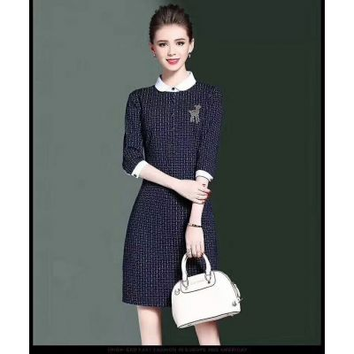 Burberry Popular Beaded Logo White Peter Pan Collar Womens Blue Cotton Graphic Print Single Breasted Dress