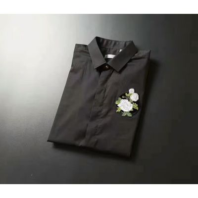 Imitation Men's Dior Sexy Black Mercerized & Cotton Covered Placket Slim-fit Short-sleeve T-shirts With Rose Embroidery
