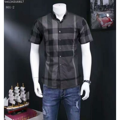 Hot Selling Burberry Mens Black Check Hook-and-Eye Collar Chest Pocket Short-Sleeve Shirts