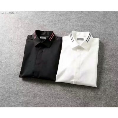Cheapest Dior Mens Blend Pinstripe-trimmed Collar Covered Placket Bee Embroidery Short-sleeve Shirts Black/White