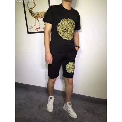 Vintage Givenchy Yellow Dragon Jacquard Black Short-Sleeve T-shirt Jogging Fit Shorts Summer Suits For Mens & Womens