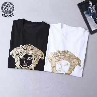 All The Rage Versace Golden Large Embroidered Medusa Guy Regular Fit Mercerized Cotton Fake T-shirts Black/White