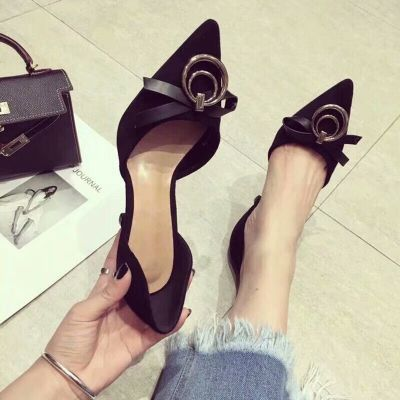 Women's Spring Dior Bow & Rounded Metal Design Suede Leather Pointy Toe Pumps Black/Khaki
