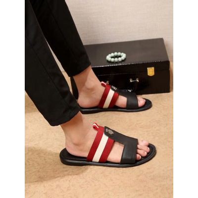 High Quality Bally Red & White Striped Web Detail Mens Calfskin Leather Sandals Black/White Online