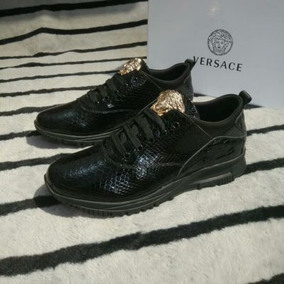 Versace Hot Quality Snake Veins Embossed Guy Black Leather Medusa Lace-up Sneakers For Sale Online