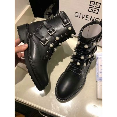 Spring/Fall New Style Givenchy Womens Pear Studs Lace-up Black Leather Flat Ankle Boots Price List