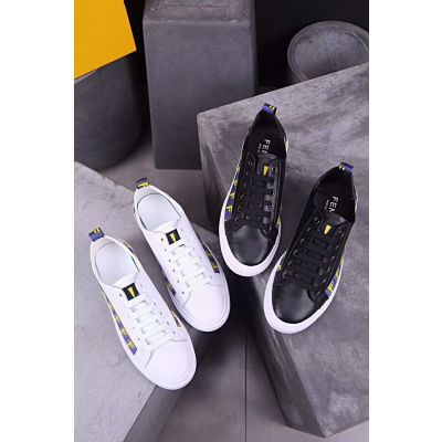 Fendi Simple Style Logo Pattern Trimming Mens Leather Lace-up Fake Sneakers Black/White Sale Online