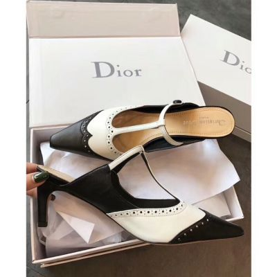 Good Price Dior Spectadior Ladies Black & White Perforated Leather T-bar Style 7cm Choc Heels Shoes KDP395GOA_S11X