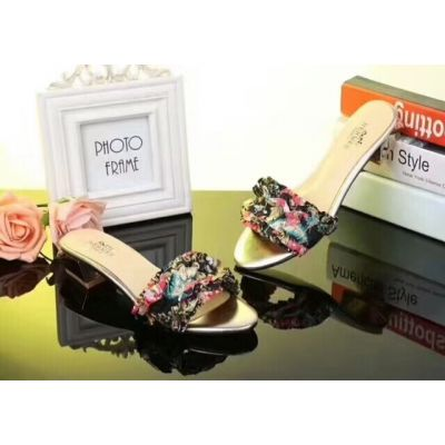 Summer Hot Selling Hermes Multicolor Silk Flower Style Upper Ladies Leather Sandals Black/Gold USA