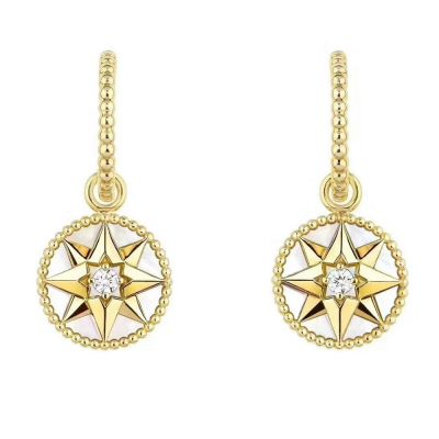 Knock-off Christian Dior Rose Des Vents 18K Yellow Gold Diamonds and Mother-of-pearl Ladies Earrings JRDV95057_0000