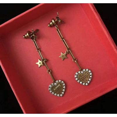 Fashion Christian Dior L'Amour Avenir Heart Gold-tone White Crystals Heart and Star Drop Earrings Price UK