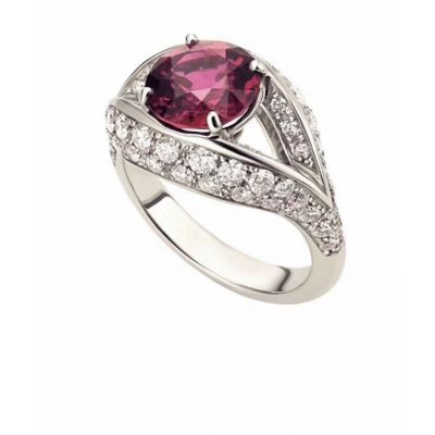 High End Bvlgari Dream Sterling Silver Single Round Ruby Ladies Paved Diamonds Ring For Sale Online