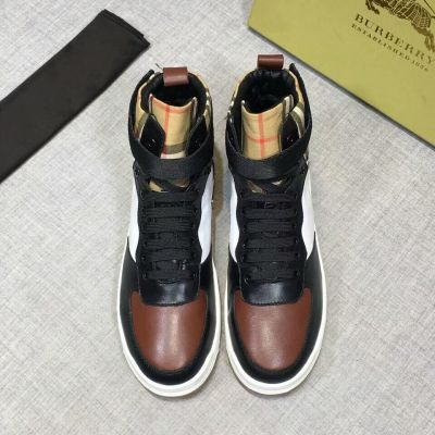 2019  Winter Burberry Vintage Check Leather & Suede High-top  Logo-tagged Velcro Strap Mens Lace-up Sneakers 80054661