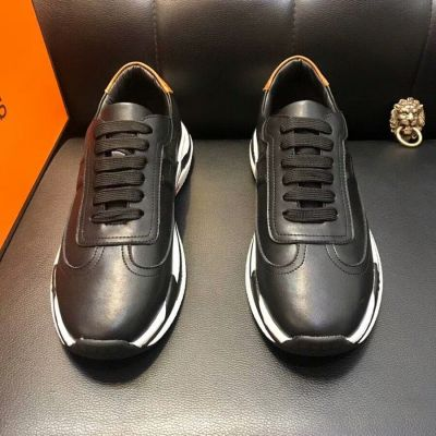 Classic Spring Hermes Females H Logo Pattern Low-top Lace-up Leather Sneakers For Sale Online