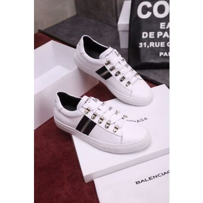 2019 Balenciaga Balmain Esther Silver Zipper & Studs Design White Leather Low-top Lace-up Black Stripes Sneakers