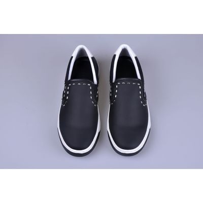 All The Rage Fendi Bi-colour Rubber Outsole Guy Dark Blue Calfskin Leather Loafers With Silver Rivets
