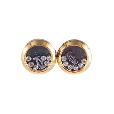 Cartier High Quality Cross C Logo Diamond Ornaments Yellow Gold Plated Cufflinks