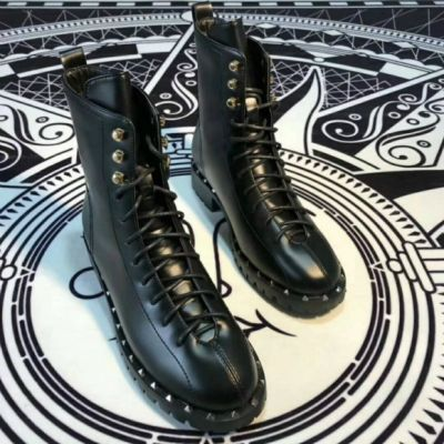 Elegant Style Valentino Black Microfiber Ladies High-Top Lace-up Silver Studs Clone Motorcycle Boots Online