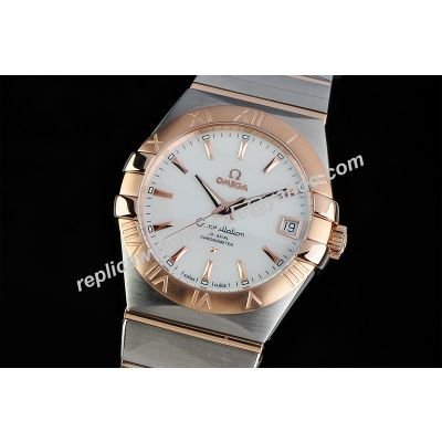 Omega Constellation Gents White Gold Ref 123.20.38.21.02.001Rose Gold Scale 2-Tone Bracelet Watch