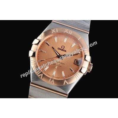 Omega Constellation Pink Gold Womens Swiss Made Date 38mm Watch