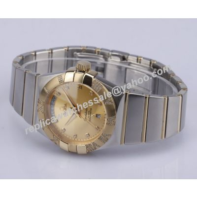 Omega Constellation 123.20.35.20.58.001 Diamonds Gold Date 35mm Faux 2-Tone Bracelet  Watch