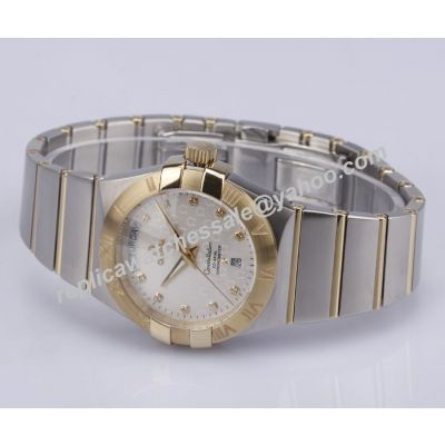 Omega ConstellationRose Gold Diamonds Markers Mens Swiss 2-Tone Watch