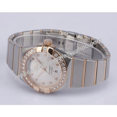 Omega Constellation Diamond Scale White Face Women's Faux No Date Watch