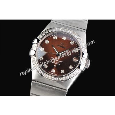 Omega ConstellationWhite  Date Diamond Silver SS Replica Jewelry Watch