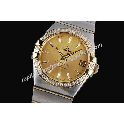 Omega Constellation Ref 1217.30.00 Diamonds Yellow Gold SS  2-Tone Bracelet Watch
