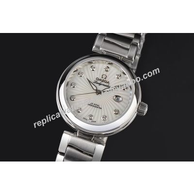 Omega De ville Ladymatic Diamonds White Gold Ladies Ref 425.30.34.20.55.002 Silver Date Watch