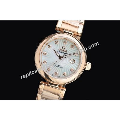 Omega De ville Ladymatic Rose Gold Diamonds Markers 425.60.34.20.55.001 Ladies Watch