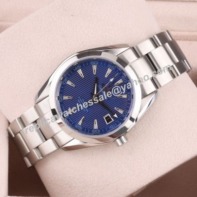 Unisex Omega Seamaster Co-axial 150m/500ft Blue Face Silver Bracelet Double Scale Watch OMJ304