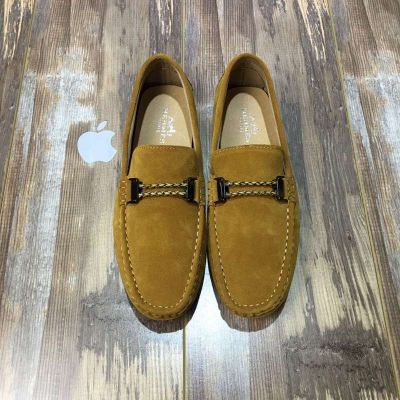 Hermes Mens Suede Leather Double Braided Rope Trimming Breathable Mocassians & Loafers Shoes Three Color