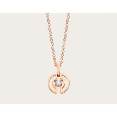 Bulgari Parentesi With Pink Gold / White Gold Chain Pendent And Central Diamonds Necklace 354605 CL858302/354311 CL858152